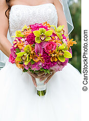 Wedding bouquet of Flowers - Wedding bouquet of flowers held...