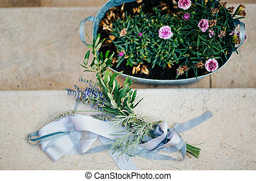 Wedding bouquet of lavender with ribbon