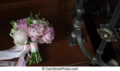 Wedding Bouquet of Peonies - Wedding Bouquet of white and...