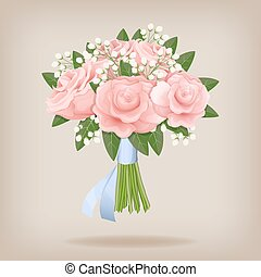 Wedding bouquet of pink roses.
