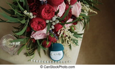 Wedding bouquet of red roses.