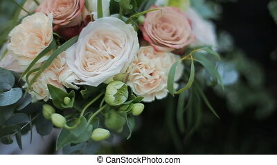 Wedding bouquet of roses and carnations. Bride's bouquet on...