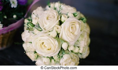 wedding bouquet of white roses