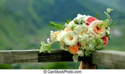 Wedding bouquet on a background of high mountains. Georgia