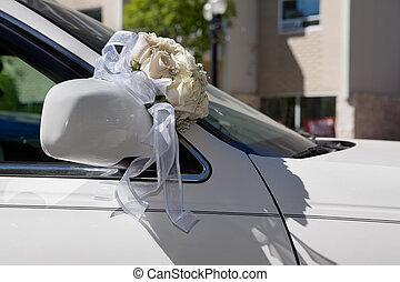Wedding Bouquet on Car - Flower bouquet on car bonnet