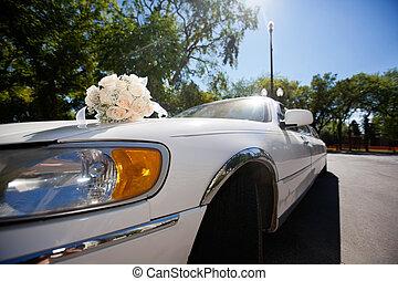 Wedding bouquet on the car