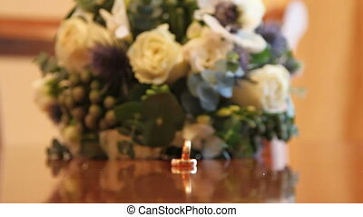 wedding bouquet on the table behind