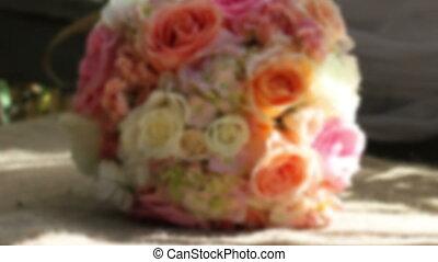 Wedding bouquet rack focus front facing
