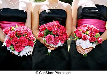 Wedding bouquet - Bridesmaids holding bouquets