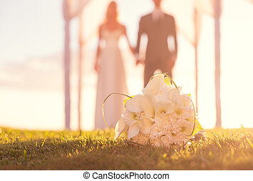 Wedding Bouquet - Close up of Wedding Bouquet. Focus on...