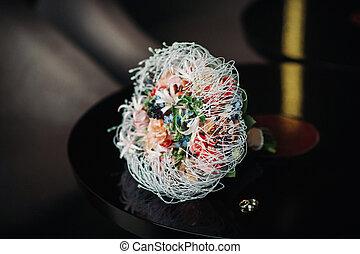 Wedding bouquet unusual modern.Wedding ring.Wedding ring.Wedding.Holiday Floristics