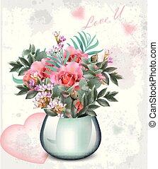 Wedding bouquet Vector. Vintage floral decor abstract designs