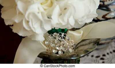 wedding bouquet. Wedding bouquet of white roses with ribbons...