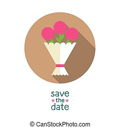 Wedding bouquet with pink roses, modern flat style round vector icon, save the date card template