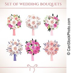 Wedding bouquets - Set of wedding bouquets made of roses