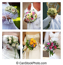 Wedding bouquets - Six different bouquets in hands of brides