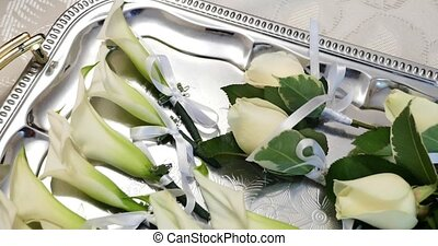 Wedding boutonniere on tray - Wedding boutonniere with pink...