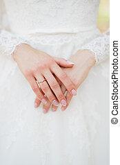 wedding, braut, hände, finger, anmutig, ring