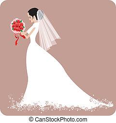 wedding, braut, mit, rose