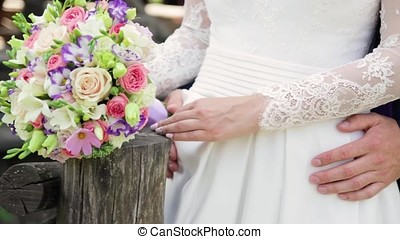 wedding Bridal bouquet with beautiful flowers