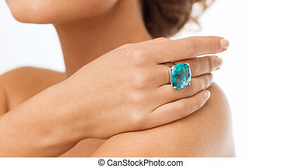 beautiful woman with cocktail ring
