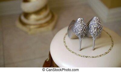 Wedding bridal shoes indoors shot