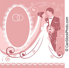 Wedding - Bride and groom. Gentle wedding background. Vector...
