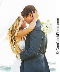 Wedding, Bride and Groom Just Married in Love