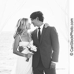 Wedding, Bride and Groom Just Married