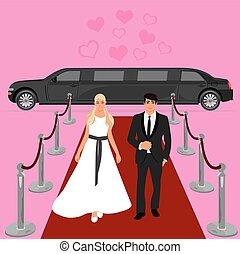 wedding, bride and groom, limousine