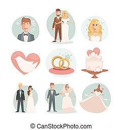Wedding Bride and groom. Vector wedding illustrations