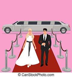 wedding, bride and groom, white