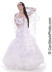 Wedding bride dressed in white dress