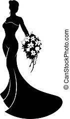 Wedding Bride Silhouette - A silhouette bride in her bridal...