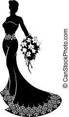Wedding Bride Silhouette Bouquet - Bride silhouette wedding...