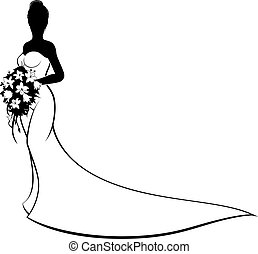Wedding Bride Silhouette Holding Bouquet