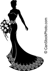 Bride silhouette wedding illustration, the bride in a bridal dress gown with abstract floral pattern holding a bouquet of wedding flowers
