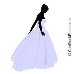 Wedding Bride Silhouette - Woman in a wedding dress...
