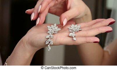 wedding, bride wears dress, shoes, jewelry