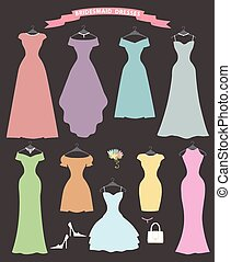 Wedding bridesmaid dress set.Flat design.Bridal shower - The...
