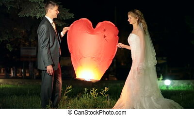 Wedding burning heart