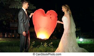 Wedding burning heart