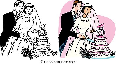Wedding Cake - A newly married couple cuts a slice from...