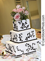 Wedding Cake - a wedding cake with pink roses. very shallow ...