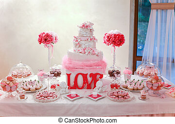 Wedding cake and banquet table