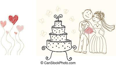 wedding cake and happy bride