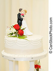 Wedding cake and topper - Wedding cake with bride and groom...