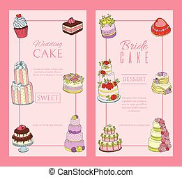 Wedding cake banners vector illustration. Chocolate and fruity desserts for sweet shop with fresh and tasty cupcakes, cakes, pudding, biscuits, whipped cream, glaze and sprinkles.