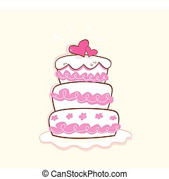 Wedding cake - Pink decorative sweet cake. May be used on...