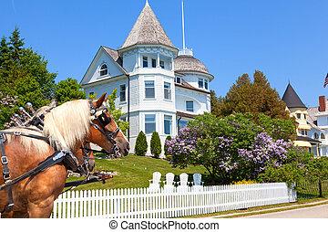 Wedding Cake Cottage on West Bluff Road - Mackinac Island -...